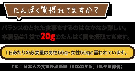 たんぱく質摂れてますか?バランスのとれた食事をするのはなかなか難しい。本製品は1袋で20gのたんぱく質を摂取できます。1日あたりの必要量は男性65g・女性50gと言われています。/出典:日本人の食事摂取基準(2020年版)(厚生労働省)